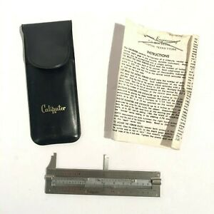 Vintage Caliputer 4 Stainless Steal Pocket Slide Caliper Case Instructions