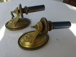 2 Brass Gilt Cast Gold Antique Electric Candle Wall Mount Sconces Matching Set