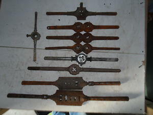 Lot Of 9 Vintage antique Thread Hand Dies Cutting Tools W o The Dies