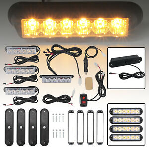 4pcs 6 Led Vehicle Flashing Warning Strobe Light Hazard Flash Amber Bar Light