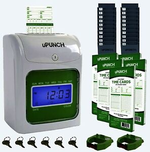 Upunch Time Clock Bundle With 100 Cards 2 Ribbons 2 Time Cards Racks