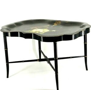 Antique Black Toleware Butlers Table Hand Painted White Roses Bird Tea Tray 30