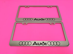 2x Audi Ll Stainless Steel Chrome Metal License Plate Frame Screw Caps 04 13