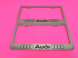 2x Audi Ll Stainless Steel Chrome Metal License Plate Frame Screw Caps 14 17