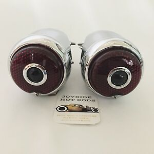 Hot Rod 1939 Chevy Tail Lights With Blue Dot Full Chrome 1 Pair