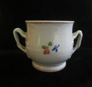 Antique 19th C Chinese Export Porcelain Double Handle Hand Painted Sugar Bowl