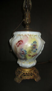 Antique Vintage Hand Painted White Milk Glass Table Lamp Unsigned Beautiful