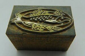 Vintage Printing Letterpress Printers Block Fish Dinner On A Plate