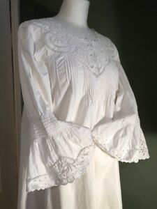 Beautiful Antique French Cotton Linen Hand Embroidered Chemise Long Nightdress