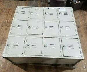 Cubby Lockers Vintage Gym School Work Storage Unit 12 Slot White Metal Bin Steel