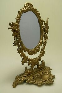 Vintage Mirror Metal Gold For Makeup Vanity Unique Great Condition Shipping Inc