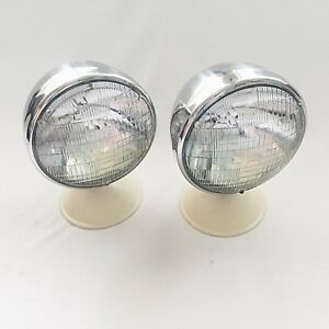 Chrome Deitz Hot Rod Headlamps Headlights With Classic Curved Seal Beam Lenses