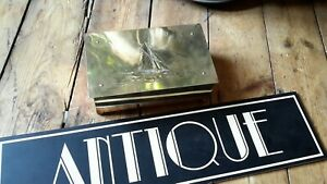 Antique Arts Crafts Brass Yaught Ship Wood Lined Box Wmf Newlyn Interest