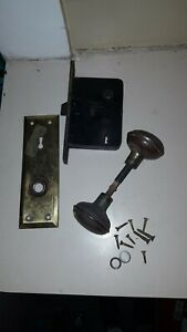 Antique Brass Door Knobs Back Plate Mortise Lock Architectural Salvage