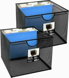 Mesh Office File Organizer Storage Box With Side Hanging Rails Black 2 Pack New