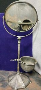 Antique Early Derby Silver Co Silver Plated Swivel Shaving Mirror And Cup