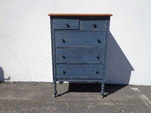 Dresser Tall Boy Highboy Wood Chest Drawers Antique Shabby Chic Country Bedroom