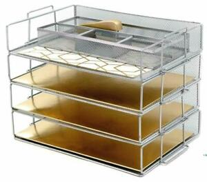 Desk Organizers And Accessories Stackable Paper Tray 4 Tier Letter Trays Silver