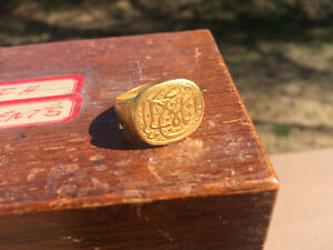 Antique Islamic Muslim Gold Signet Ring With Arabic Persian Quran Calligraphy
