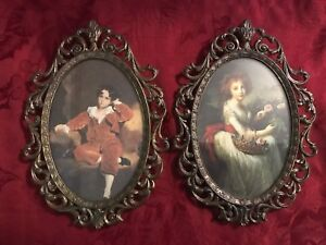 Vintage Pair Pictures Ornate Metal Filagree Frame Italy Boy Girl