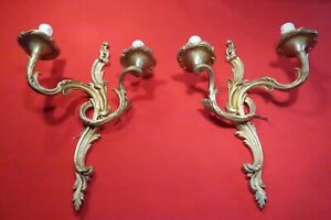 Pair Of Antique Gilded Bronze 2 Light Wall Sconces French Early19th Century