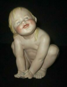 Antique Gebruder Heubach Piano Baby Long Hair Crouching Girl Bisque Porcelain