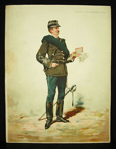 A Legras Captain Hunter To Feet Chromolith C1880 Uniform Military