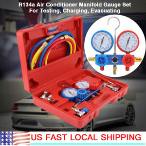 New R134a Air Conditioner A c Manifold Gauge Set With 5ft Charging Hose Tool Us