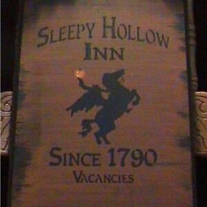 Primitve Sleepy Hollow Inn Sign Headless Horseman New York Halloween Folk Art