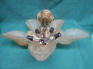 Vtg Antique Art Deco 5 Slip Shade Ceiling Light Fixture Chandelier