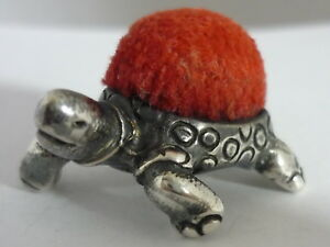 Stunning Vintage Sterling Silver Tortoise Pin Cushion By Ari D Norman