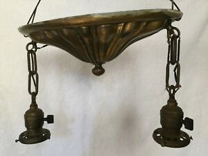 Antique Victorian Ceiling Light Solid Brass Dual Fixture 1899 Bryant Switches