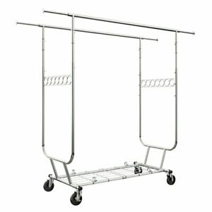 Heavy Duty Commercial Clothing Garment Rack Rolling Collapsible 287 Lbs Capacity