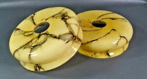 2 Art Deco Bohemian Czech Cream Cased Glass Lamp Shades Spiderweb Slag Veins