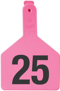 Z Tags Cow Ear Tags Pink Numbered 51 75