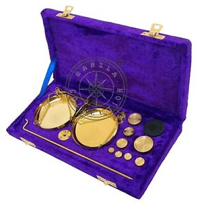 Vintage Gold Brass Jewellery Scale With Velvet Box Complete Set Weight Balance