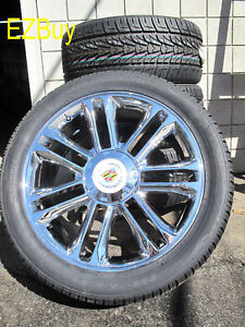 22 New Escalade Platinum Factory Chrome Wheels 285 45 22 Nexen Tires 5358 4