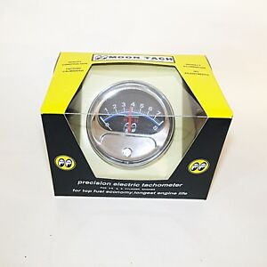 Moon Tach With Chrome Cup For 4 6 Or 8 Cylinder Engines 12 Volt