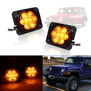 For 07 19 Jeep Wrangler Jk Led Turn Signal Fender Side Marker Light Smoke Lens