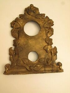 Antique Cast Iron Mantel Clock Face Front Brassy Floral C 1890 S Victorian Part