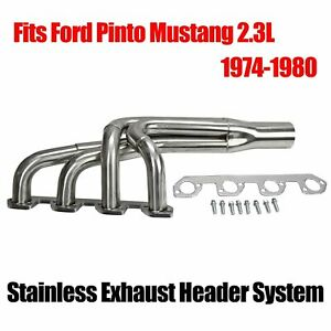 Fits Ford Pinto Mustang 2 3l Stainless Exhaust Header System Production Chassis