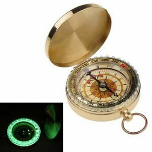 Vintage Brass Dalvey Style Compass With Lid Old Nautical Pocket Necklace Us
