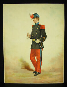 A Legras School Saint Cyr Chromolith C1880 Uniform Military Xixth Militaria