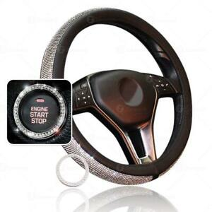Shiny Bling Pu Leather Steering Wheel Cover Crystal Rhinestone Ring Sticker