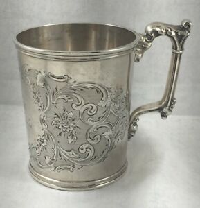 Large Gorham Coin Silver Floral Etched Cup W Fancy Handle