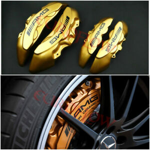 Mercedes Benz Disc Break Pads Caliper Covers Fiberglass Amg Style Golden 4 Pcs