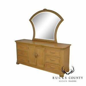 Bernhardt Furniture Vintage Long Blonde Dresser With Mirror