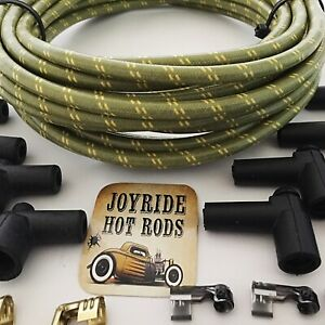 Green yellow Cloth Covered Spark Plug Wire Kit For Electronic Ignition Systems