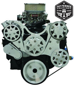 Small Block Chevy Serpentine Kit Raw Machined Aluminum A C And Power Steering