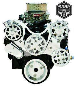 Small Block Chevy Serpentine Kit Polished Billet Aluminum A C And Power Steering